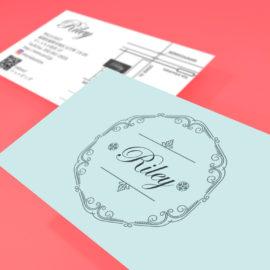 デザイン制作事例:福岡市南区Riley 様のショップカードをデザインしました。