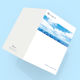 デザイン制作事例:福岡市博多区有限会社レゴナ様の会社案内パンフレットをデザインいたしました。